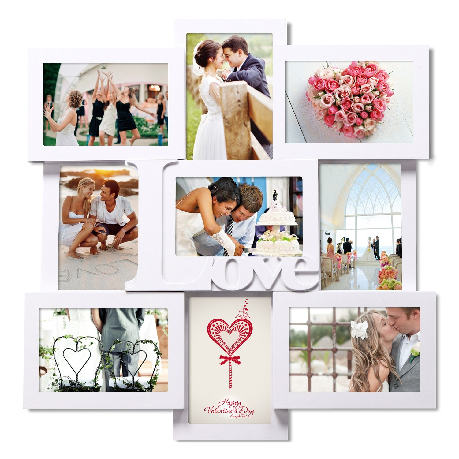 Asense PFA309 White Wood 9-openings 4 By 6 Inch ''Love'' Logo Collage Picture Photo Frame for Wall Hanging