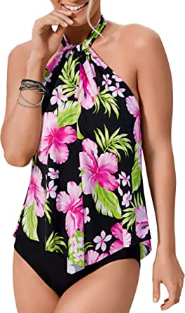 Upopby Women's One Piece Swimsuits Plus Size Swimwear High Neck Halter Flounce Backless Bathing Suits