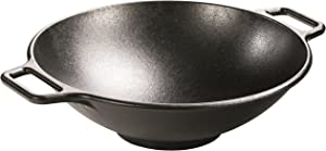 Lodge Pro-Logic Wok With Flat Base and Loop Handles, 14-inch, Black