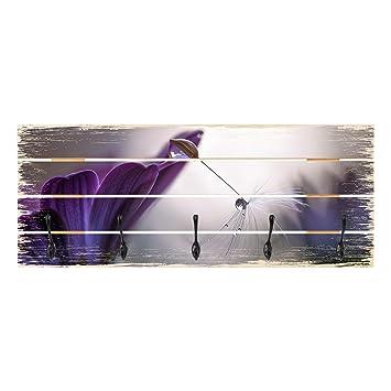 Bilderwelten Perchero de Madera - Purple Rain - Ganchos ...