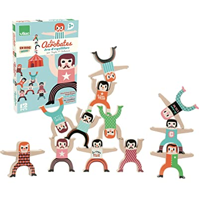 "Vilac Wooden Acrobats Stacking Game - 12pc ""Les Acrobates"": Toys & Games"