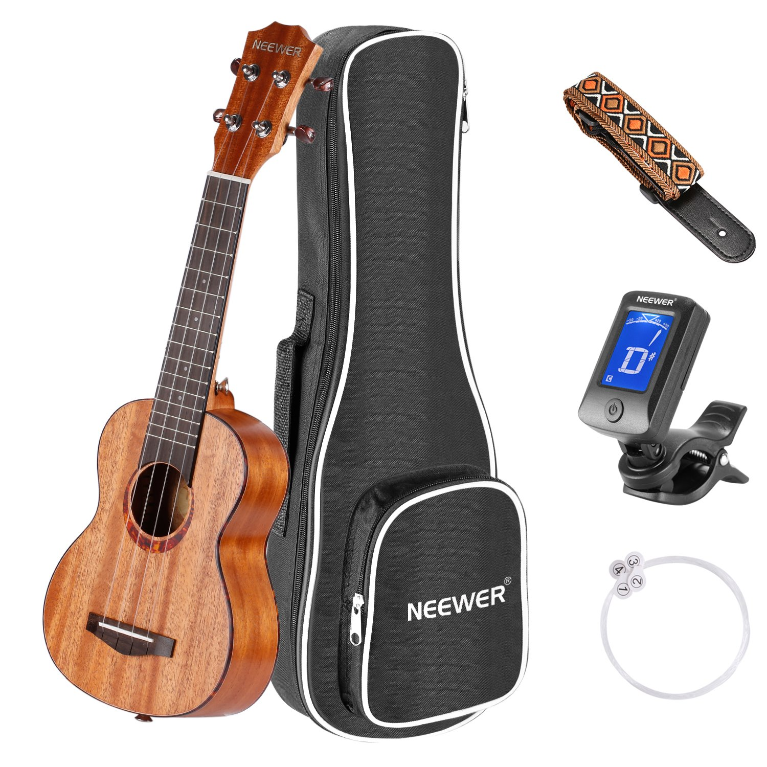 Neewer 23 inches Soprano Mahogany Body Rosewood Fingerboard Ukulele Kit, Bundle with Gig bag, Clip-on Tuner, Carbon String, Shoulder Strap, Ideal for Music Lover, Convenient to Carry 40089599