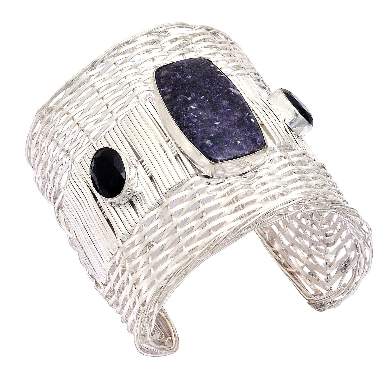 eurasia Handmade Natural Charoite Black Onyx Gemstone Silver Plated Cuff Bracelet