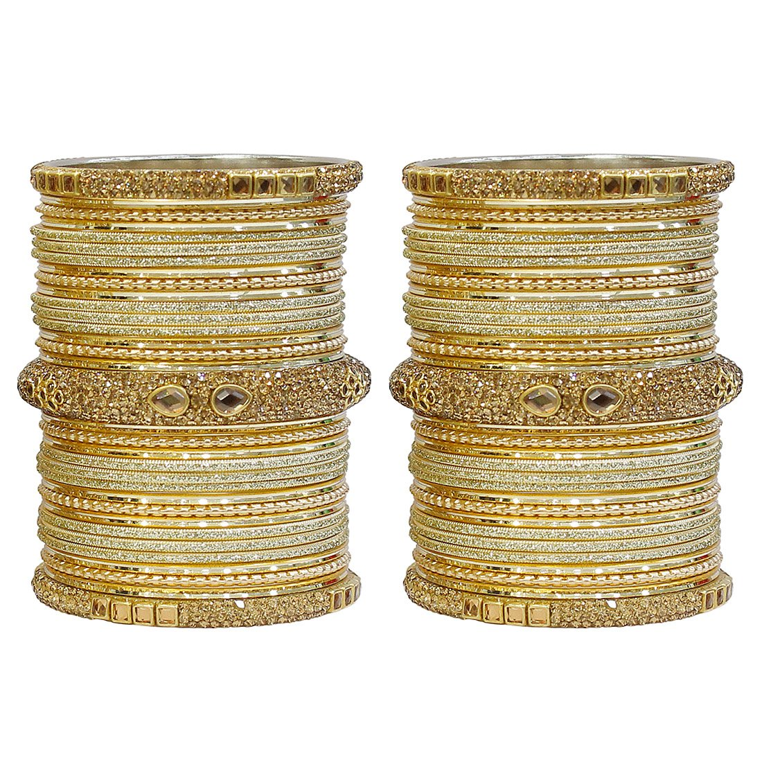 MUCH-MORE Marvelous 18 Pieces of Multicolor Bangles Set with Dashing Kade Traditional Indian Partywear Jewelry for Women & Girls (Cream, 2.8)