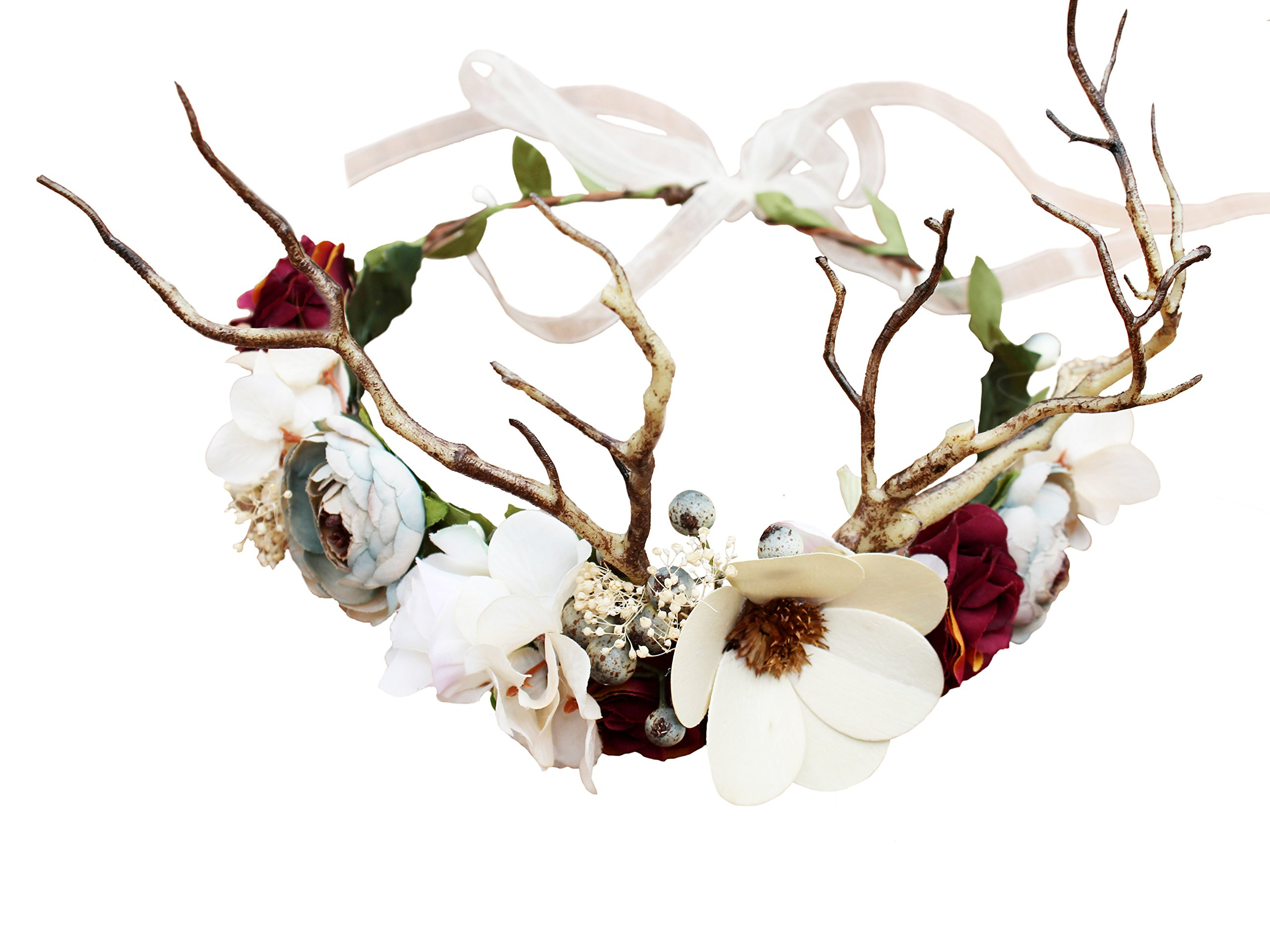 Vivivalue Deer Horn Boho Handmade Flower Wreath Headband Crown Halo Floral Hair Garland Headpiece with Ribbon Festival Wedding
