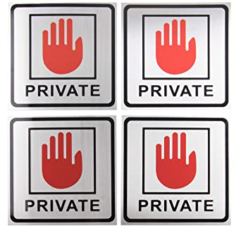 Amazon.com: Private Signs – Paquete de 4 señales de metal ...