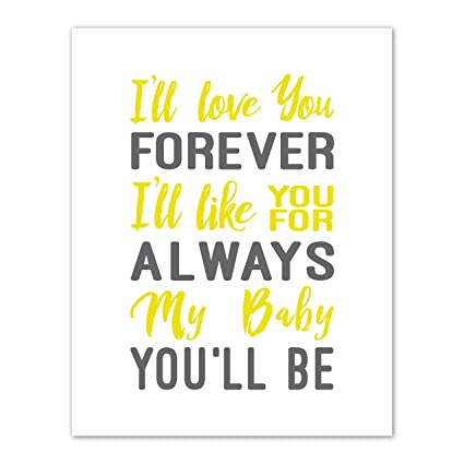 Amazon I'll Love You Forever Quote Words Art Decor My Baby Custom I Ll Love You Forever Quote