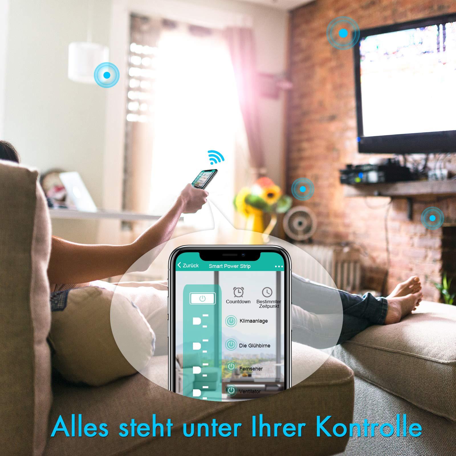 Smart Steckdosenleiste Intelligente WLAN Mehrfachsteckdose mit Überspannungsschutz Wifi Steckdosen 4 Fach AC-Ausgänge und 4 USB-Voice Control mit Amazon Alexa [Echo, Echo Dot], Google Home und IFTTT mit App Fernsteuerung für iOS und Android