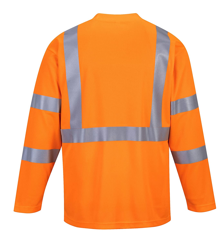 Arancione XXXL Portwest S191 T-Shirt con Taschino Manica Lunga ad Alta Visibilit/à