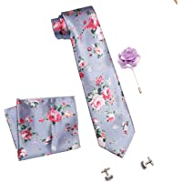 COCO CHANEL Men's Silk and Cotton Necktie with Pocket Square, Lapel Pin and Cufflinks (Blue, Free Size)