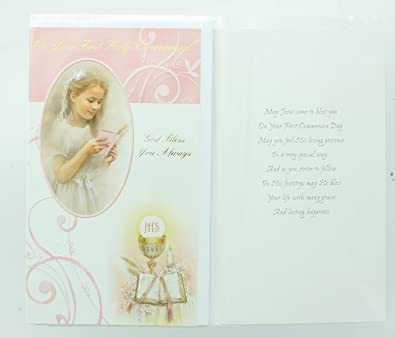 Amazon Girls First Holy Communion Greeting Card Includes