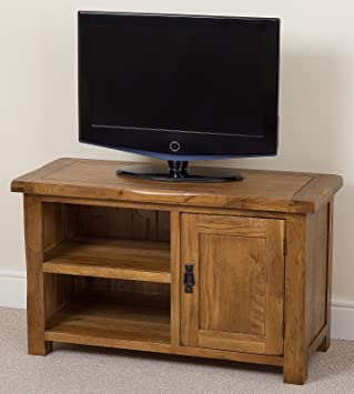 Cotswold Rustic Solid Oak Small Tv Dvd Stand Living Room Furniture
