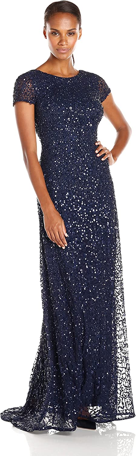 Adrianna Papell Womens Short-Sleeve All Over Sequin Gown Dress