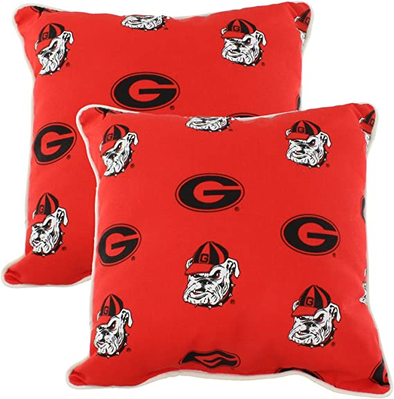 Amazon Com College Covers Georgia Bulldogs Outdoor Decorative Pillow Pair 2 16 X 16 Pillows Red Home Kitchen