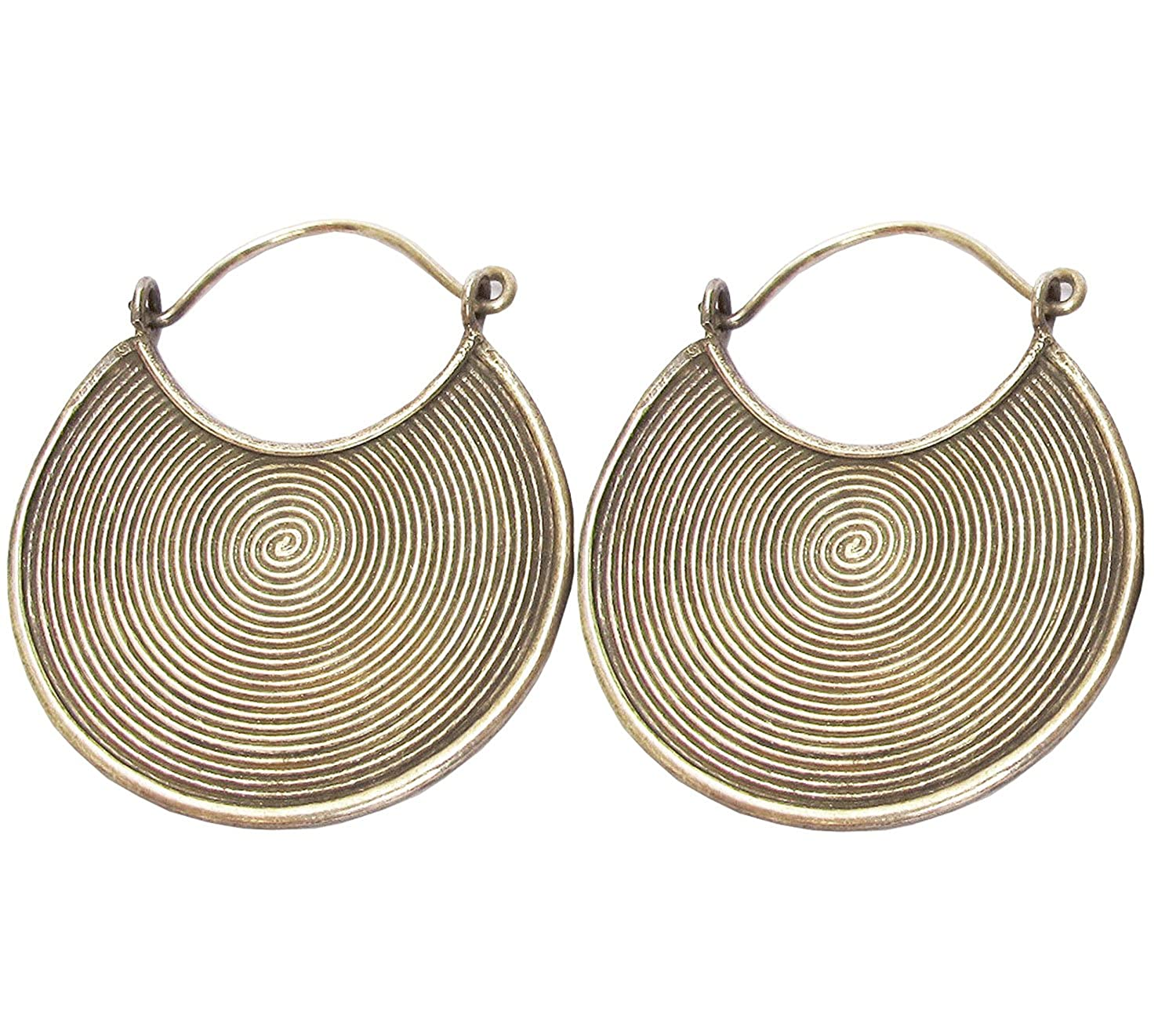 Get Free Shipping WEIGHT 7.98 G NICE CLASSIC GENUINE THAI HILL TRIBE SILVER EARRING SIZE 30 x 35 MM{STERLING EARRINGS BOX 1}