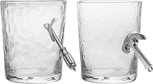 Godinger Old Fashioned Glasses Set of 2 Wrench Pliers Handyman Drinking Glass
