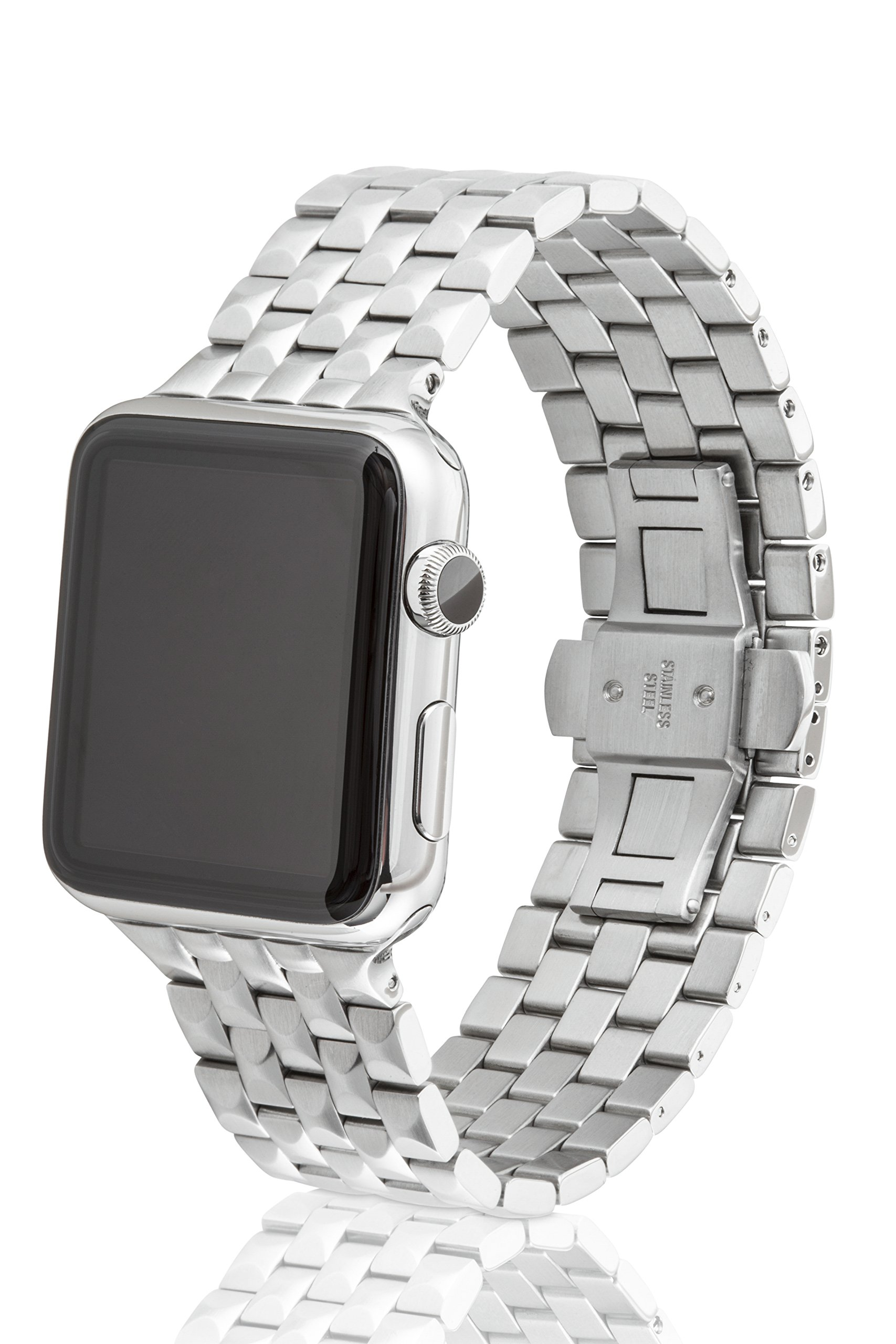 42mm JUUK Locarno Premium Apple Watch band, made with Swiss quality using only the highest grade solid 316L stainless steel with a solid steel butterfly deployant buckle (Brushed)