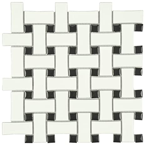 SomerTile FDXMBWWB Retro Basket Weave Glazed Porcelain Mosaic Floor And  Wall Tile, 10.5u0026quot; X