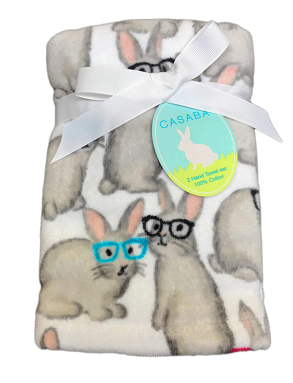 Cute Grey Bunny Rabbits Wearing Colorful Eyeglasses 100/% Cotton Set of Two Decorative Easter Bathroom Guest Hand Towels Casaba
