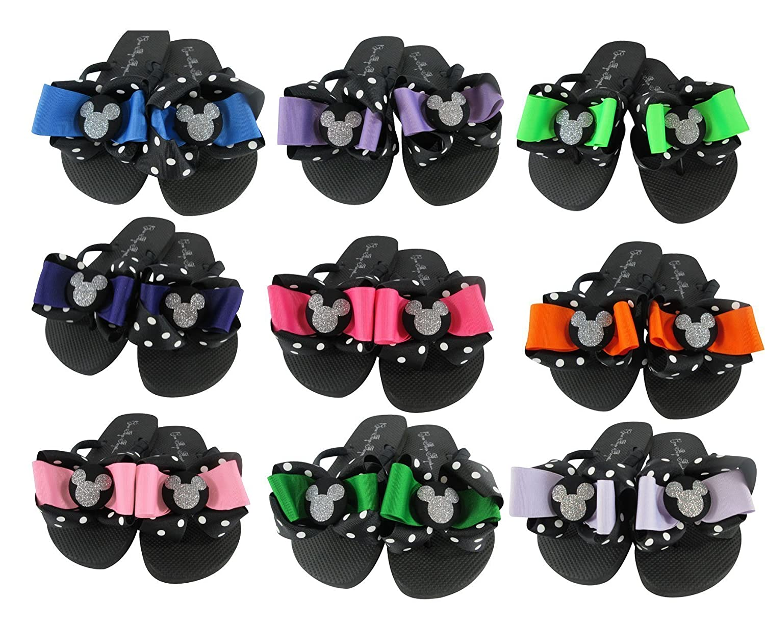 Mickey Mouse Glitter Bow Flip Flops Choose Ribbon Color for Disney Vacation Sandals Ladies Girls