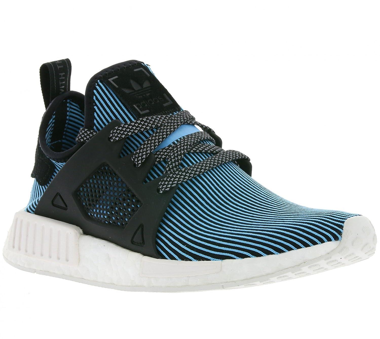 Black, white, bluee Adidas Originals Men's Primeknit NMD_R1 Running shoes (Black)