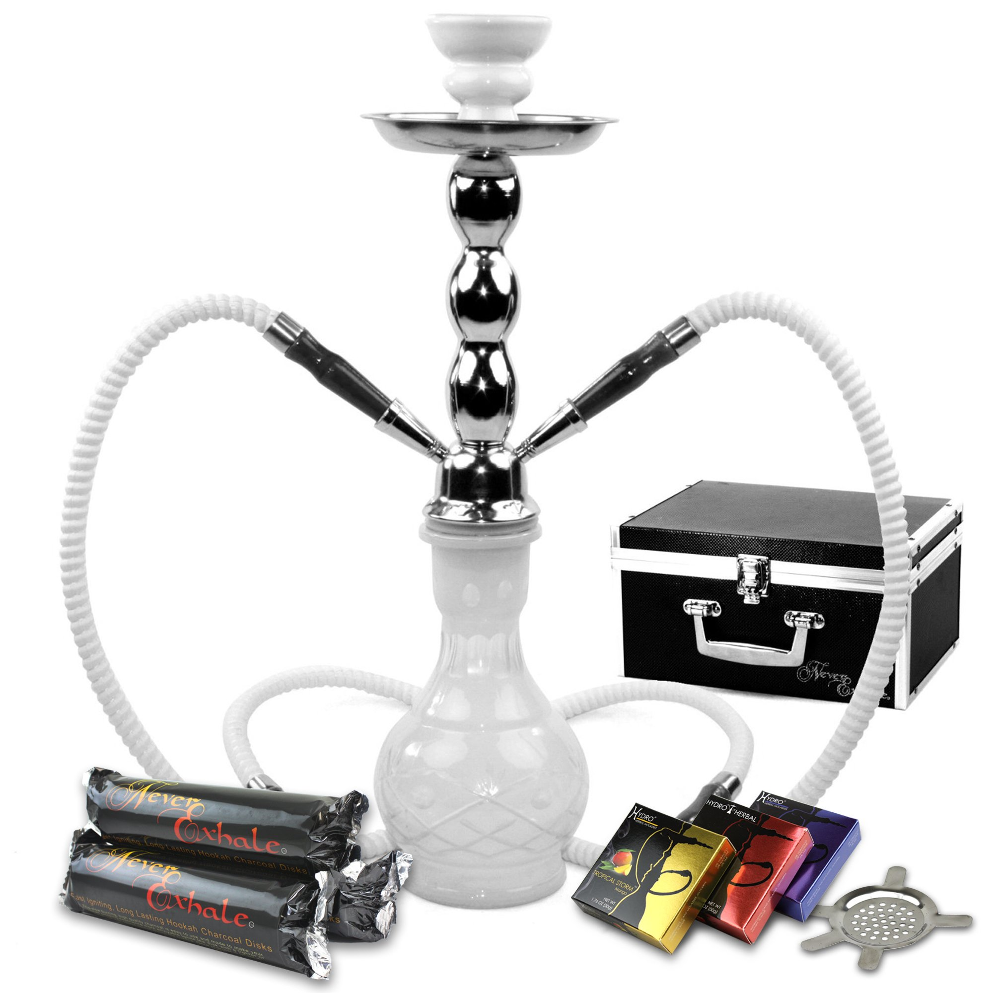 GSTAR Starter Series: 18'' 2 Hose Hookah Combo Kit Set w/NeverXhale Charcoal, Hydro Herbal Molasses, and Screen (Diamond Etched White)