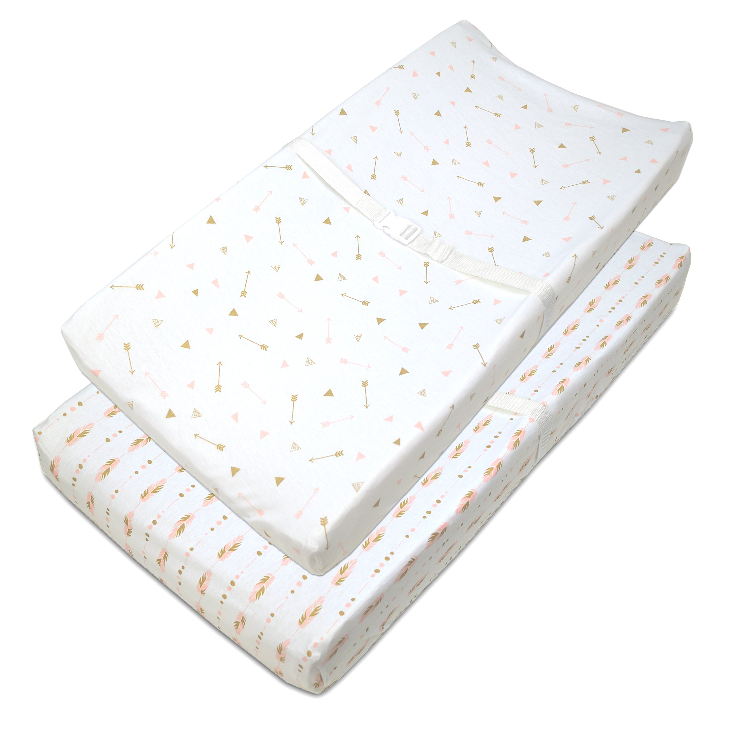 American Baby Company 2 Piece Printed 100% Cotton Jersey Knit Fitted Contoured Changing Table Pad Cover, also works with Travel Lite Mattress, Sparkle Gold/Pink Feathers/Arrows
