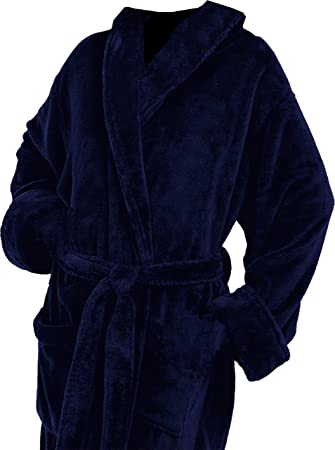 Navy Blue Plush Robe 100 Thread Colors to Choose From Customized by Wrapped In A Cloud