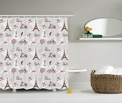 Image Unavailable Not Available For Color Ambesonne Paris Decor Shower Curtain Set