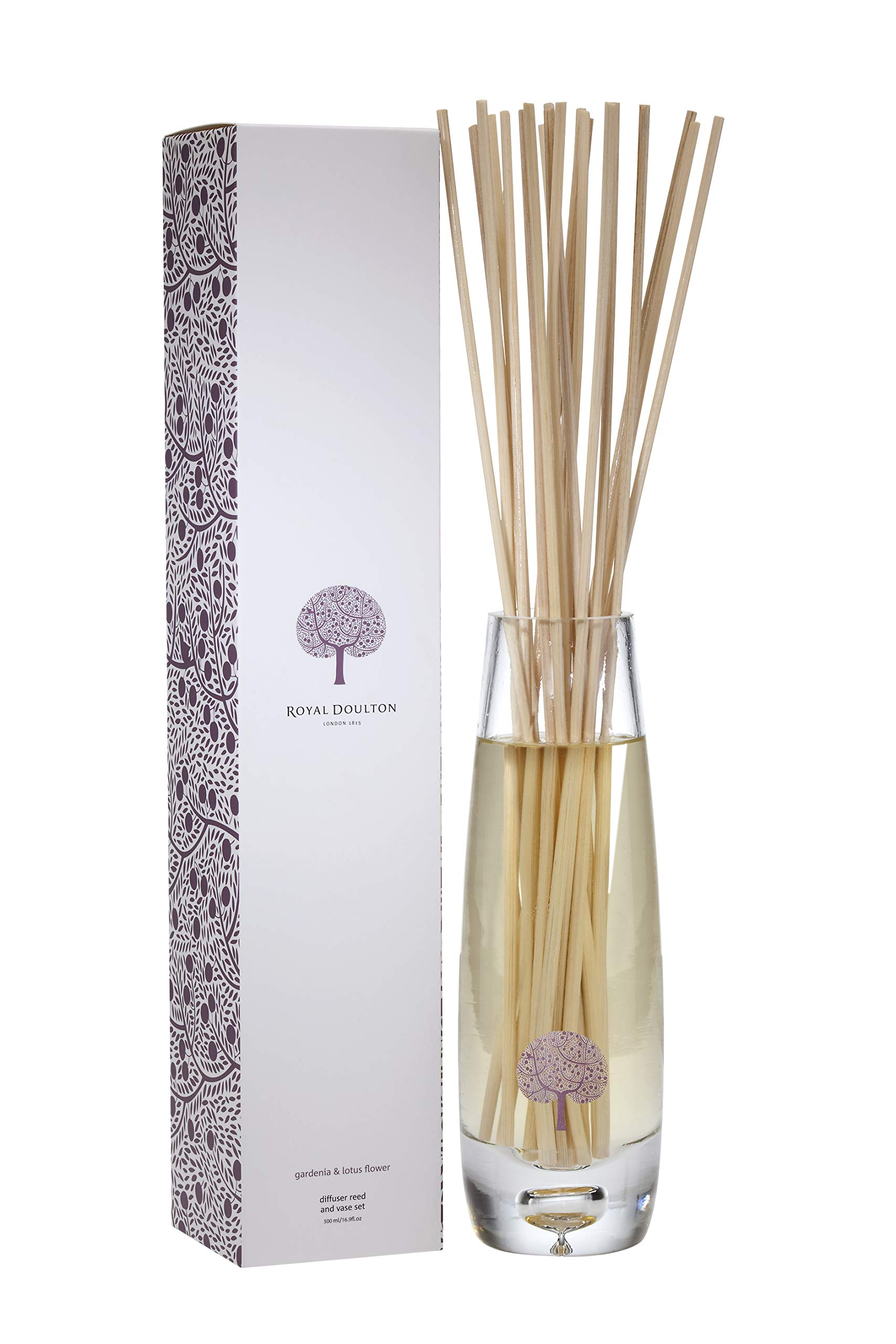ROYAL DOULTON Luxury Reed Diffuser & Glass Vase Set - Reed Sticks. Long Lasting Natural Scented (6+ Months) 500 ml / 16.5 oz - Gardenia & Lotus Flower by ROYAL DOULTON