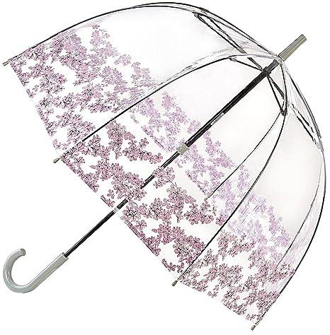 Fulton Birdcage-1 clara paraguas cúpula con la frontera florete - Nuevo!