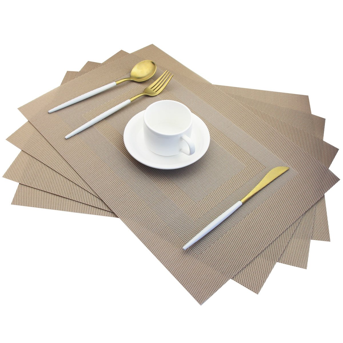 Placemats,Heat Insulation Non Slip Plastic Placemats,Washable Easy to Clean Woven Vinyl Kitchen Stain Resistant Placemats for Dining Table Set of 4(Beige) Pigchcy