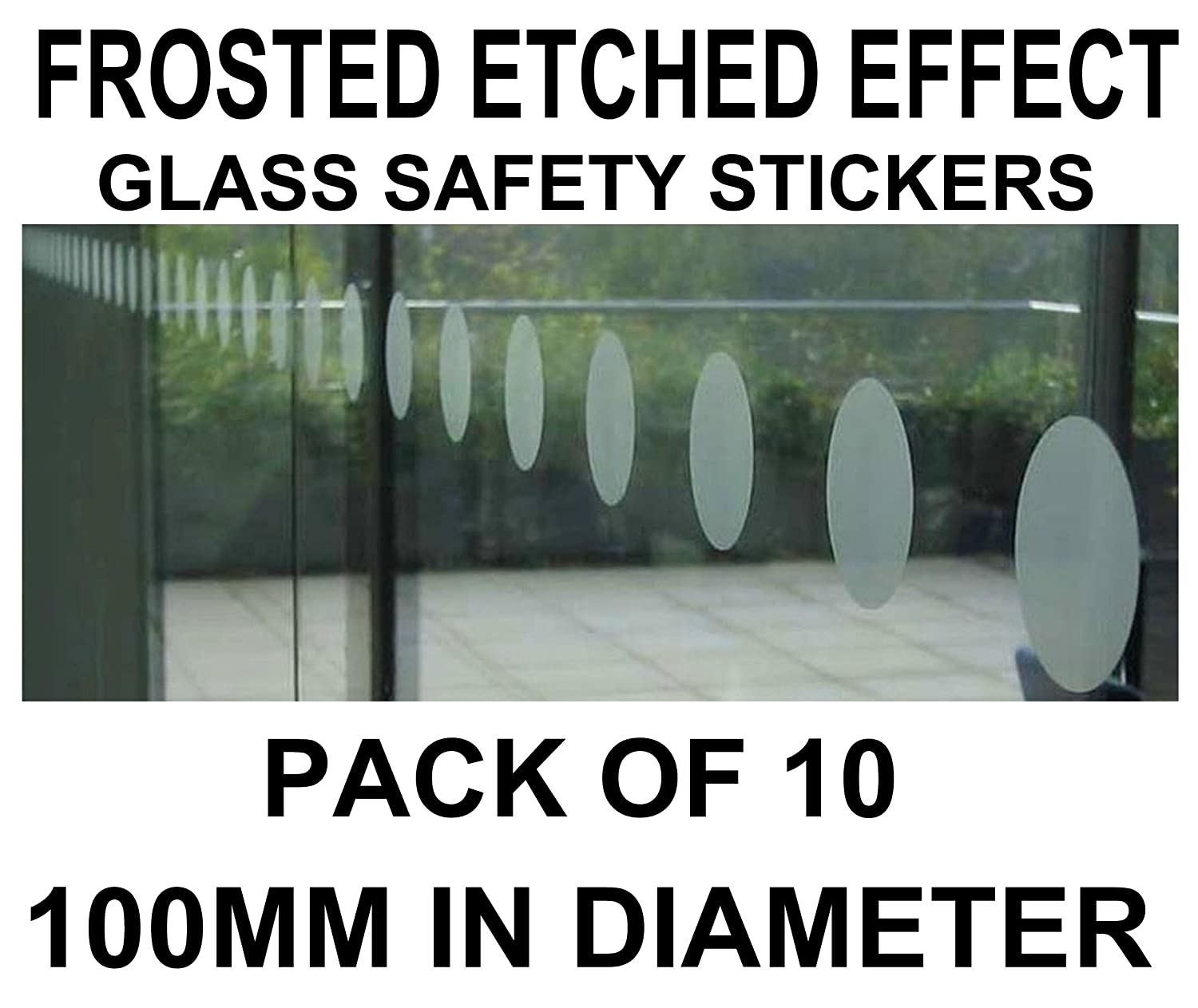 Circular frosted etched effect vinyl safety stickers circles window glass shop business pack of 10 100mm in diameter amazon co uk office products