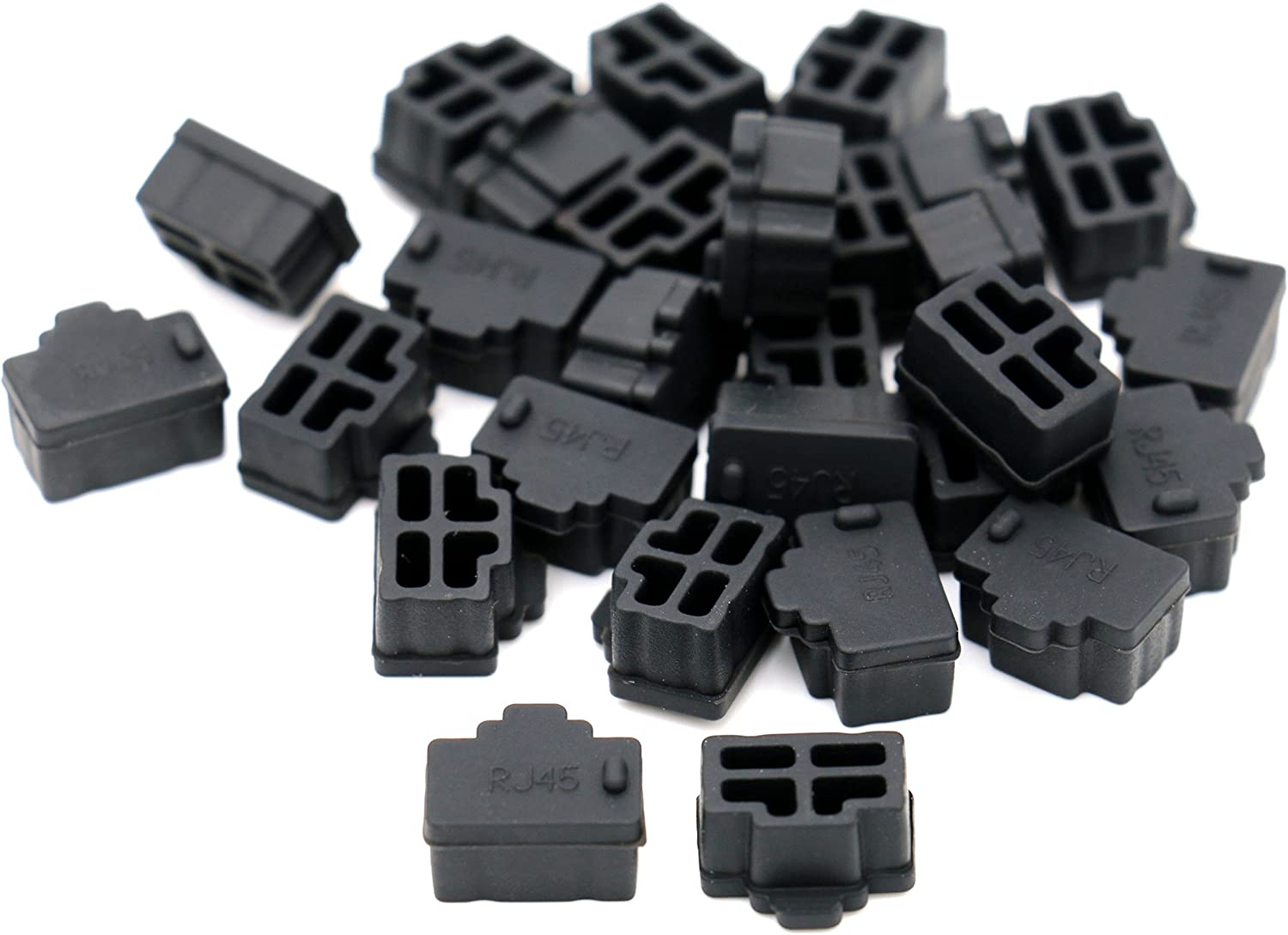 50 PCS Black RJ45 Port Jack Dust Protective cover Caps Port Cover and Protector