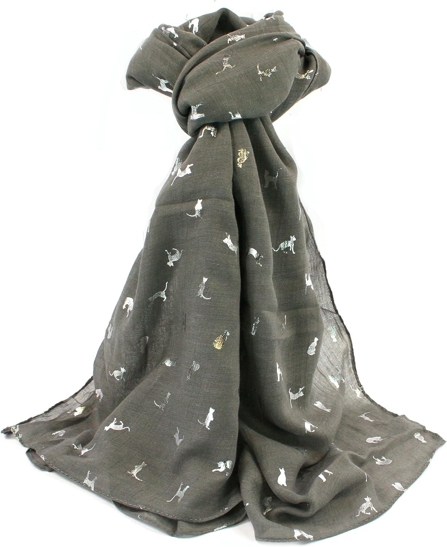 Bufanda con gatos, color gris y plateado