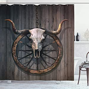 """Ambesonne Barn Wood Wagon Wheel Shower Curtain, Long Horned Bull Skull and Old West Wagon Wheel on Rustic Wall, Cloth Fabric Bathroom Decor Set with Hooks, 70"""" Long, Black Brown"""