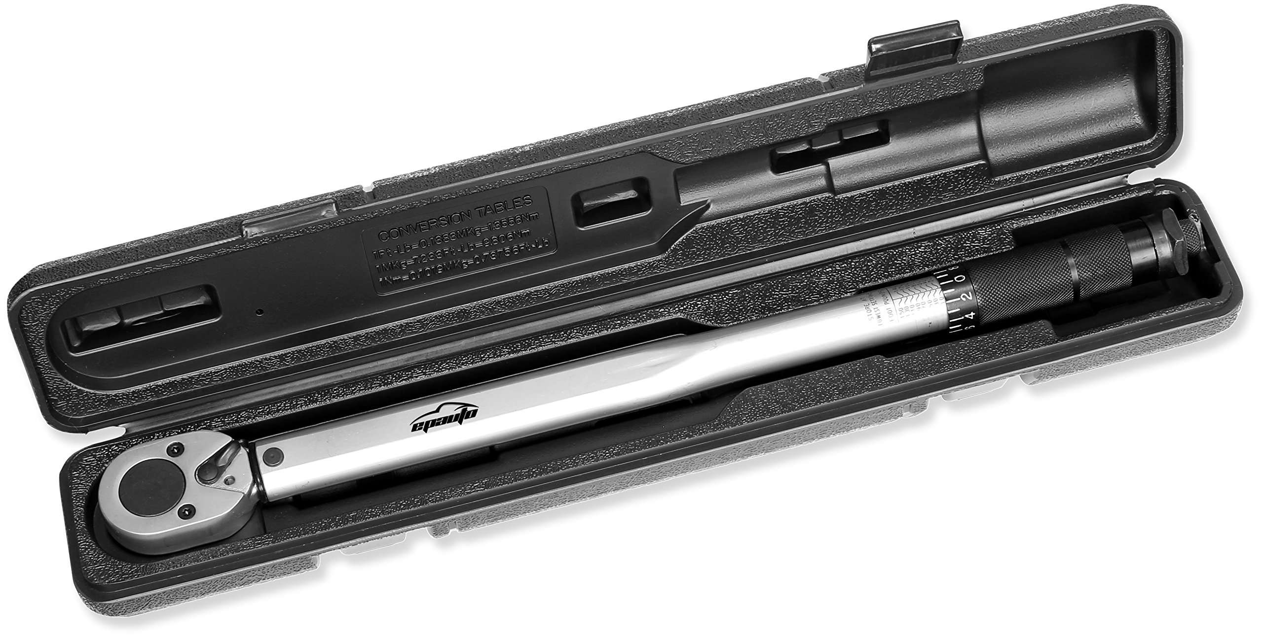EPAuto 1/2-inch Drive Click Torque Wrench, 10~150 ft./lb., 13.6 ~ 203.5 N/m
