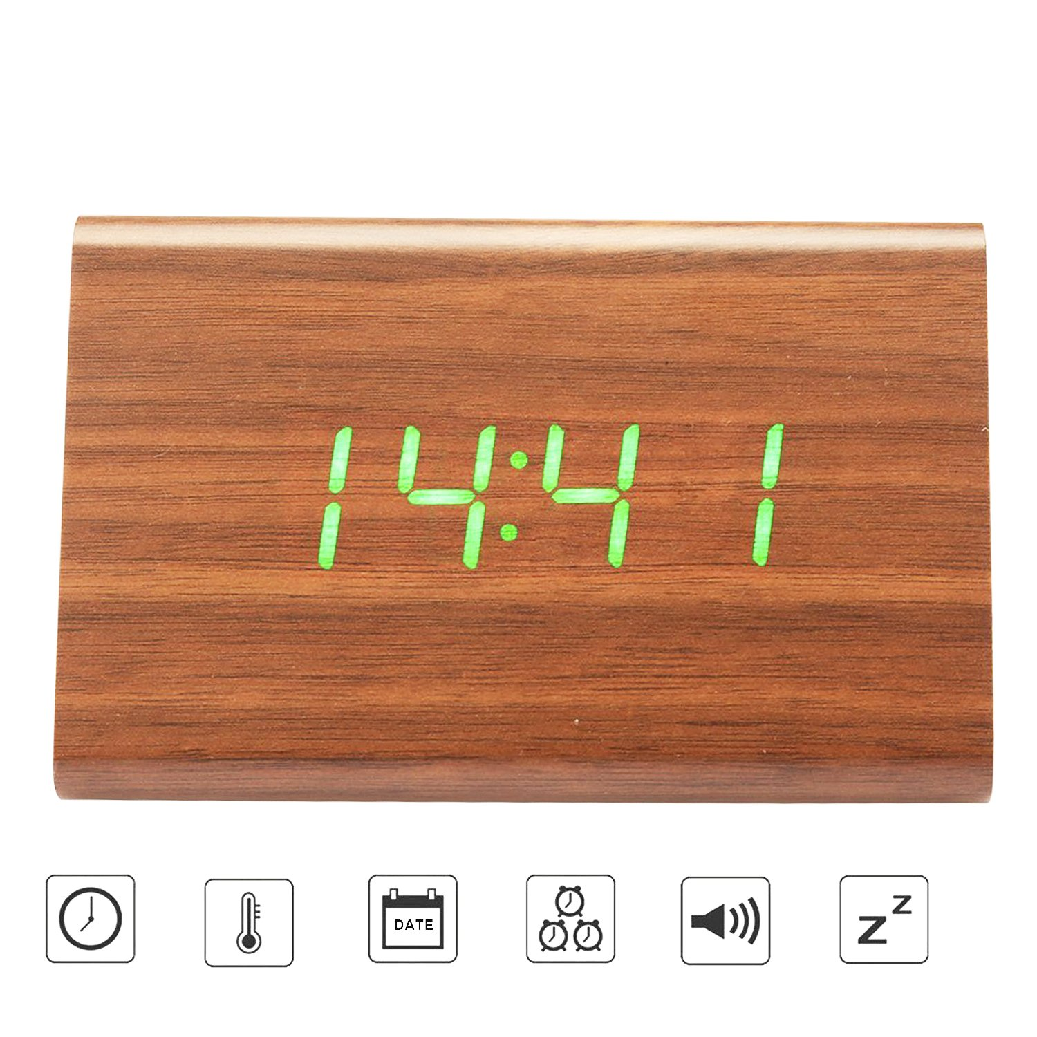 Amazon.com: Bioeilife Wooden Alarm Clock, Triangle USB Digital Alarm Desk Clock With Time Temperature And Voice Control (Brown(Green LED)): Home & Kitchen