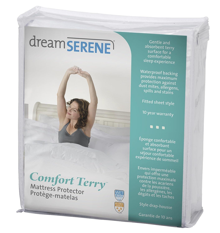 dreamserene Komfort Terry, hypoallergen, wasserdicht und atmungsaktiv Matratzenschoner, King Size, Weiß Weiß Global Homewares Group Ltd. M-221T-KG18-RM-WHIT