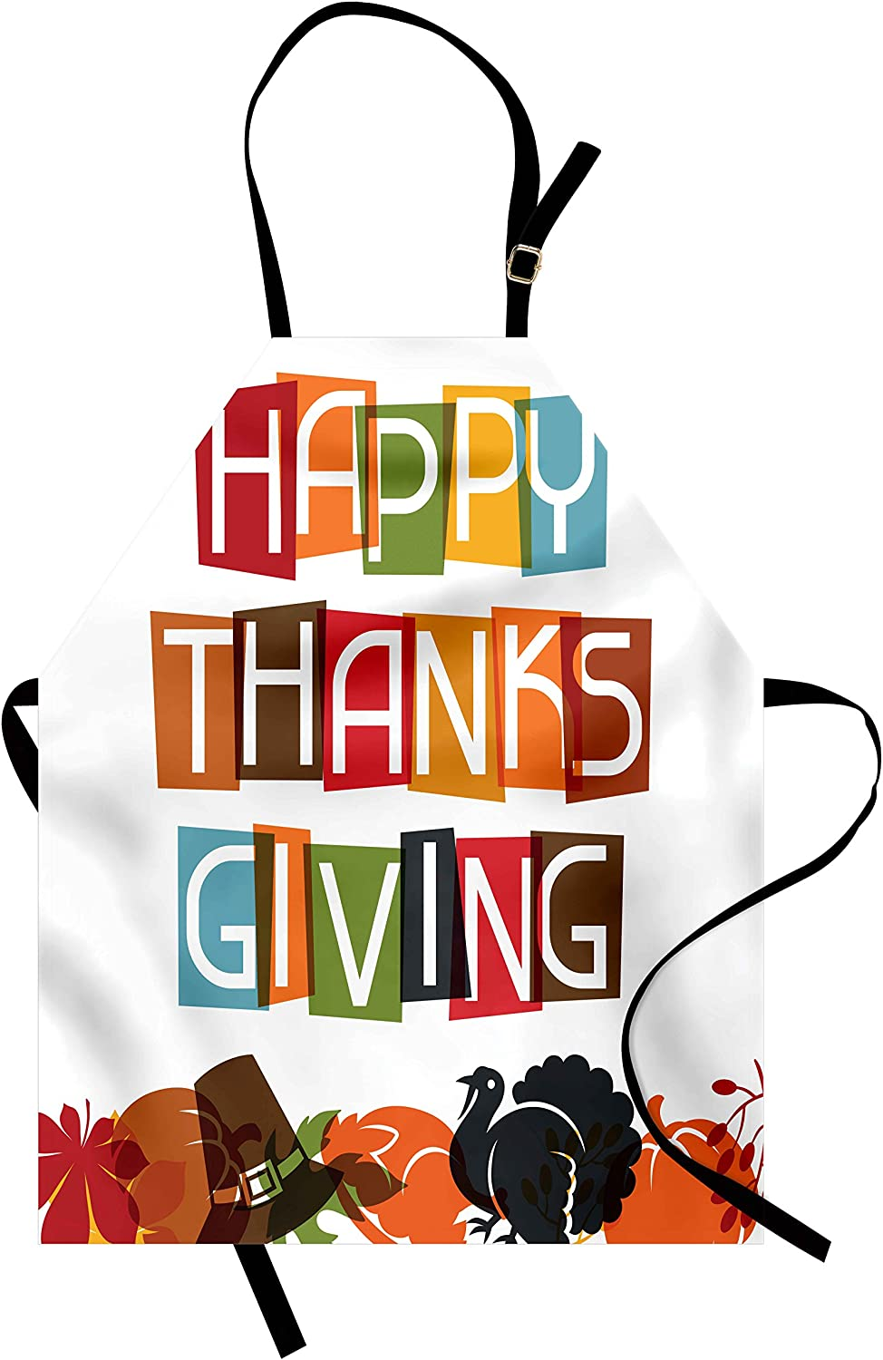 Lunarable Thanksgiving Apron, Cheerful Design Tradition Holiday Celebration Colorful Typography Nature, Unisex Kitchen Bib with Adjustable Neck for Cooking Gardening, Adult Size, Soft Orange