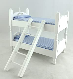 Dolls House Miniature Bedroom Furniture White Bunk Bed Set Desk /& Chair 5358