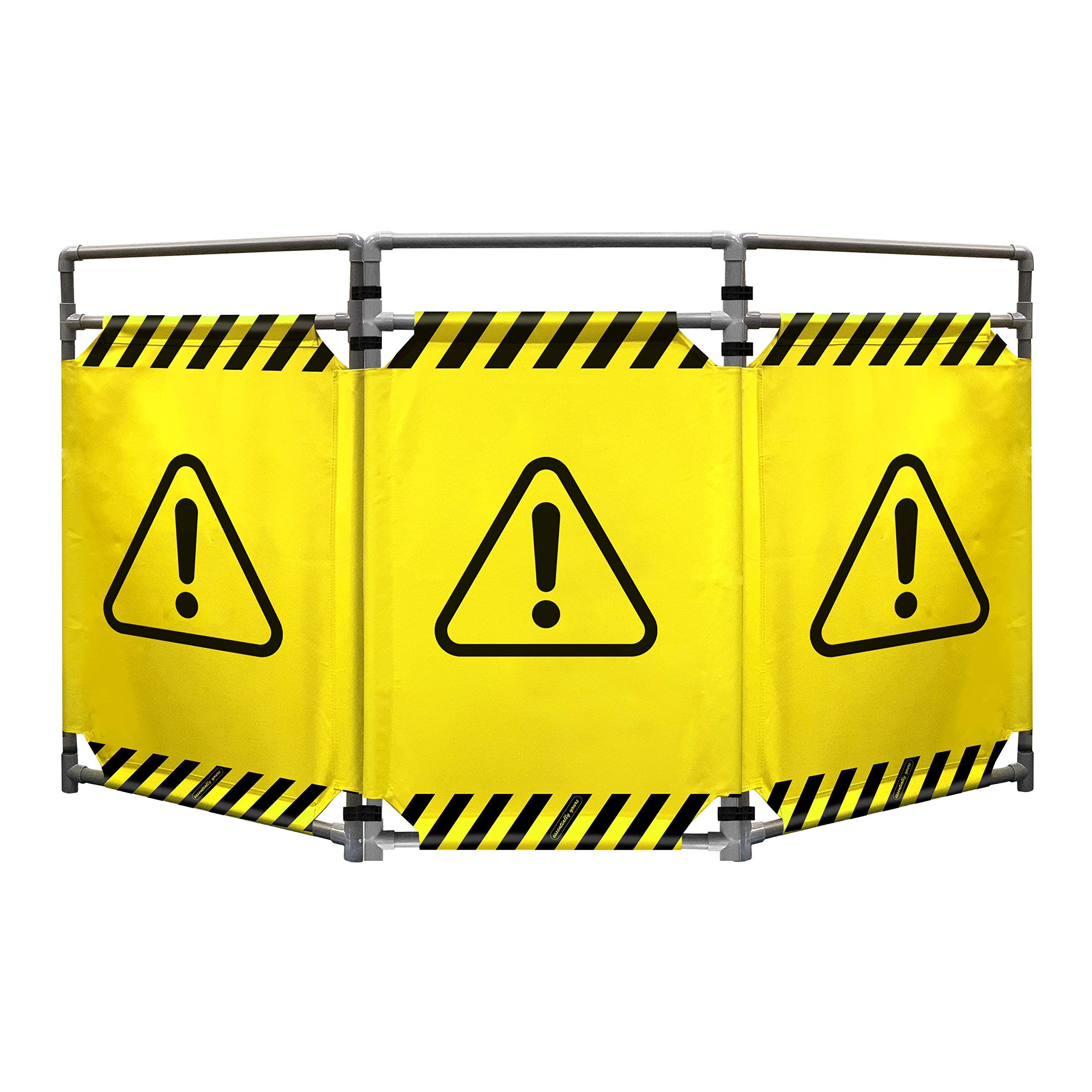 Safety Barricade, High Visibility 3 Panel Portable Safety Barrier with PVC Frame, Foldable, Lightweight, and Durable, Caution Symbol by Essentially Yours