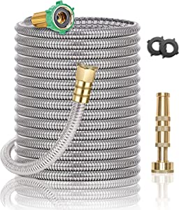 Steel Metal Garden Hose 100FT - Heavy Duty Lightweight 304 Stainless Steel Metal Water Hose with Brass Nozzle, Durable Fittings, No Kink & Tangle, Puncture Resistant, Easy to Use & Store