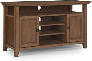 SIMPLIHOME Amherst SOLID WOOD Universal TV Media Stand, 54 inch Wide, Transitional,Entertainment Center, Cabinet, Shelves, for Flat Screen TVs up to 60 inches, Rustic Natural Aged Brown