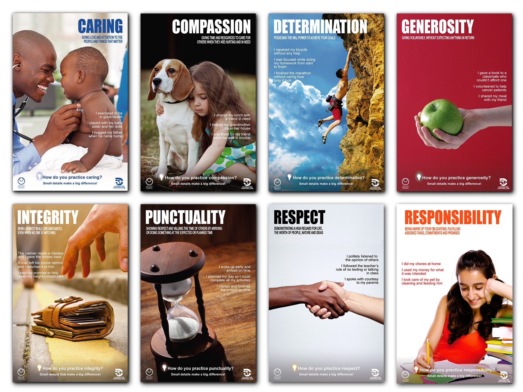 CHARACTER POSTERS Motivational, Inspirational Character Traits for Classrooms Office Homes Churchs - SUPER VALUE 80 Poster Pack! - 11'' x 17''