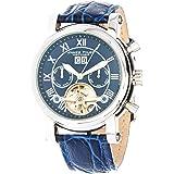 James Tyler Montres - JT700-3 - Montre Homme - Automatique - Chronographe - Bracelet Cuir Bleu