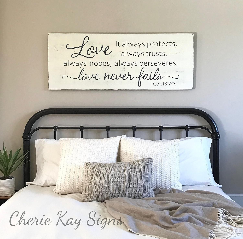 Amazon.com: WoodenSign Master bedroom wall decor Love never ...