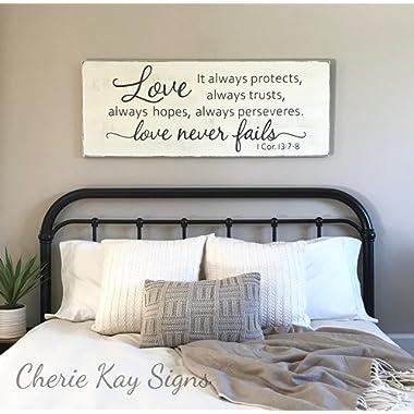 WoodenSign Master bedroom wall decor Love never fails 1 Corinthians 13 wood sign rustic bedroom decor farmhouse bedroom 24 x 9.2