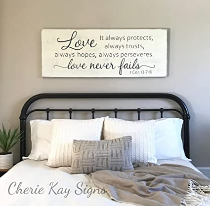 Amazon Com Woodensign Master Bedroom Wall Decor Love Never Fails 1