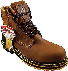 ESTABLO Mens Work Boots Style 509 Leather Crazy Mango/Black